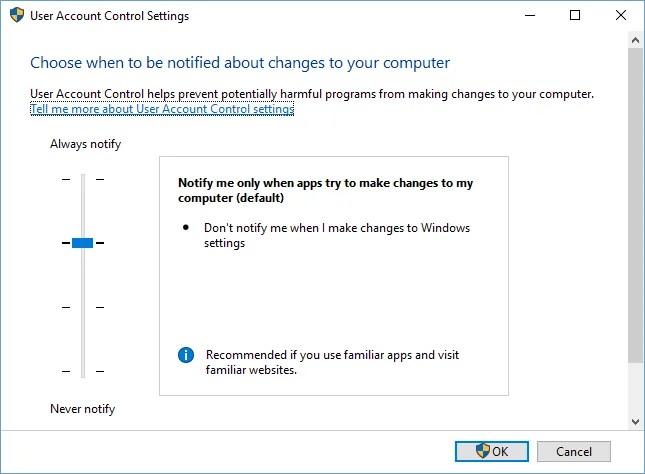 Настройки контроля учетных записей Windows 10