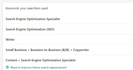 LinkedIn's keywords your searchers used view