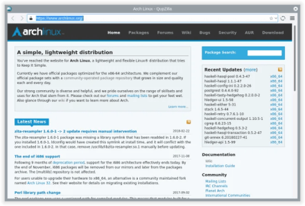Arch Linux QupZilla page