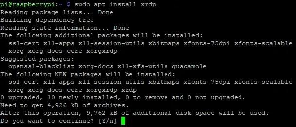 Установите RDP-клиент xrdp на Raspberry Pi