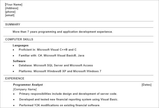 microsoft word resume templates - programmer resume