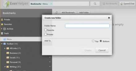 sync bookmarks with EverySync - create folder