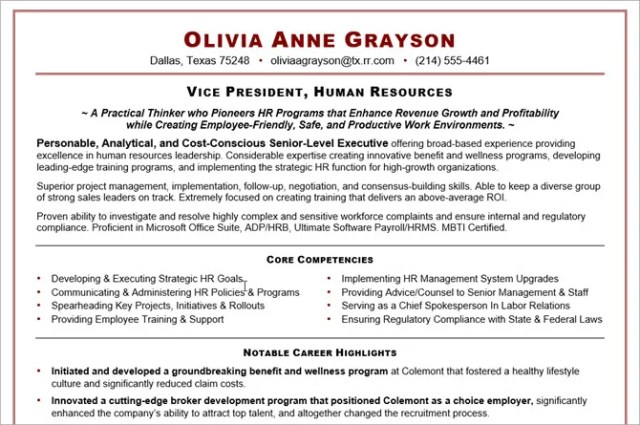 microsoft word resume templates - executive resume