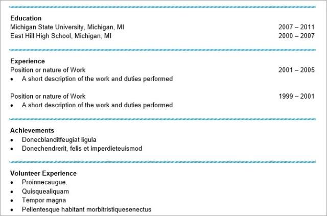 microsoft word resume templates - keep it simple