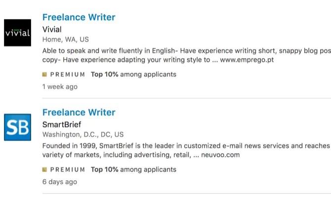 Job info from LinkedIn Premium