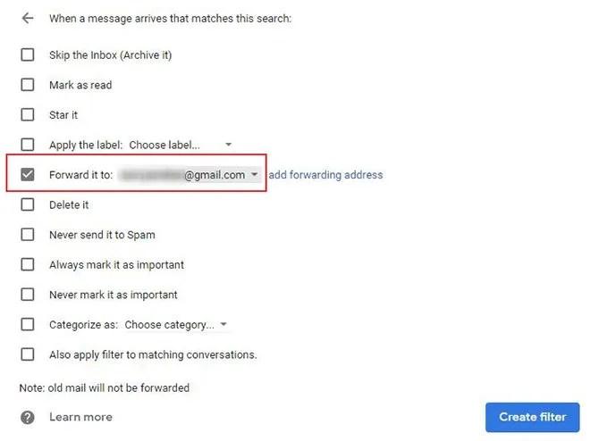 Параметры фильтра Gmail