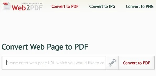 how to convert webpage to pdf - use web2pdf