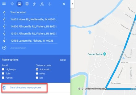 Google Maps Send Route to Phone