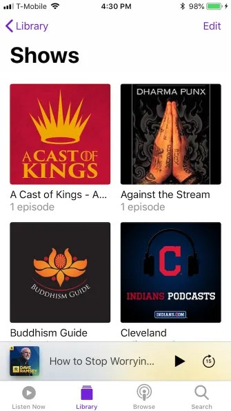 podcasts library shows 335x596 - A Guide to the (Surprisingly Excellent) iPhone Podcasts App