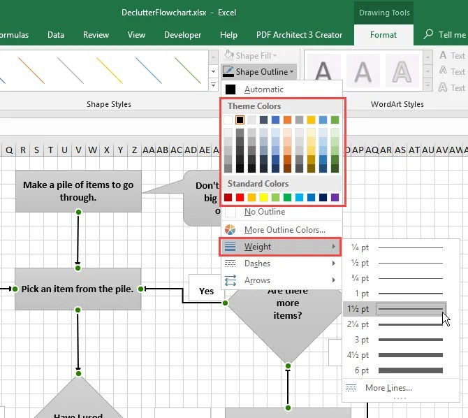 Change color and weight for connector lines on a flowchart in Excel