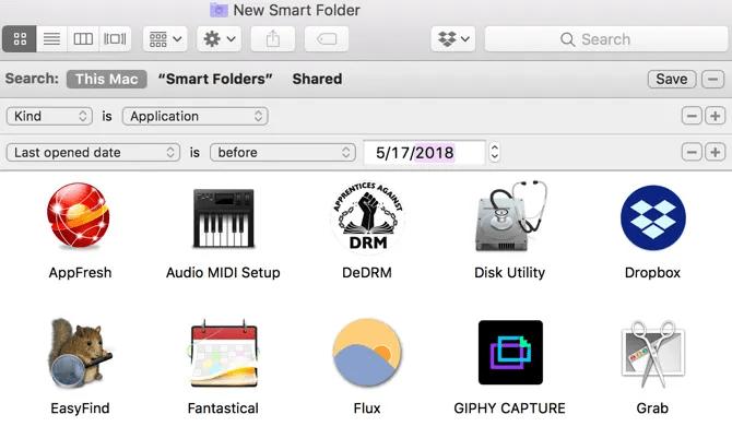 Mac Smart Folder Unopened Apps