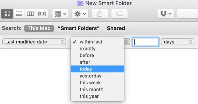 Mac Smart Folders modified date