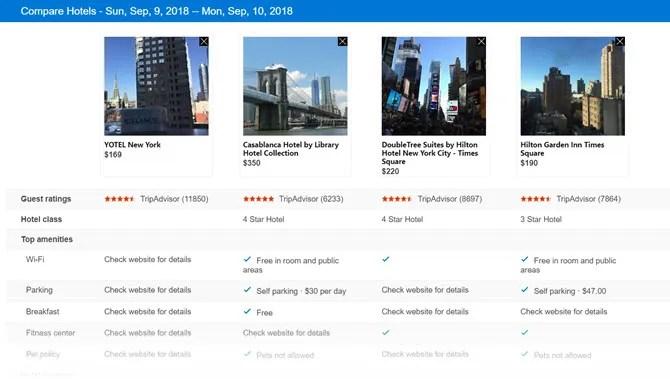 Bing Hotel Comparison