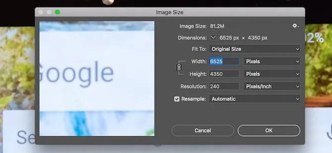 Photoshop image size panel