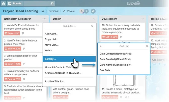 Sort Trello Cards with a Click