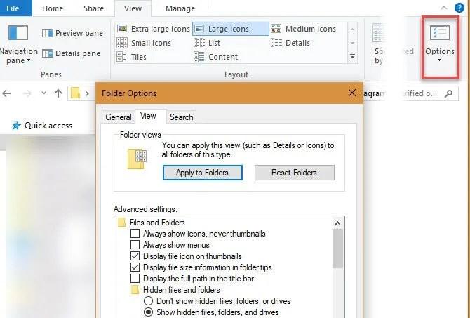 Windows 10 Изменить параметры просмотра папок
