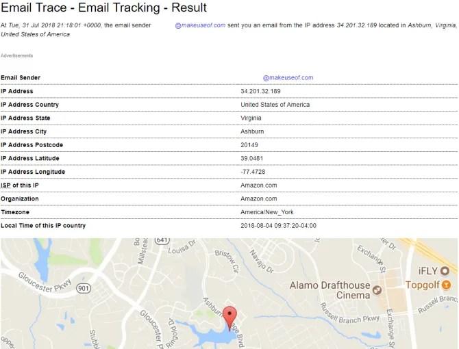 análisis de encabezado de correo electrónico de IP Tracer
