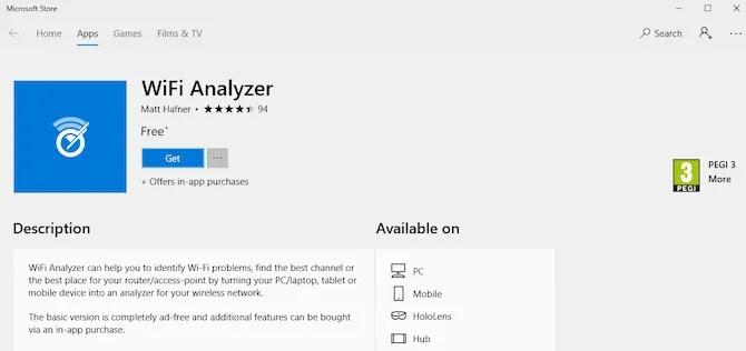 WiFi Analyzer Windows 10