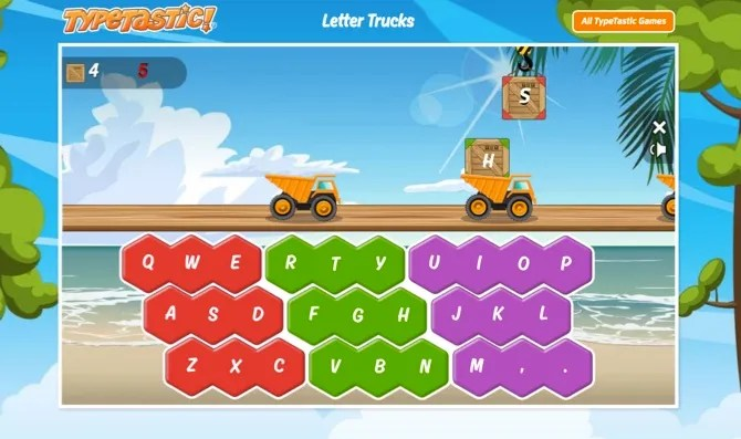 TypeTasticLetterTrucks web - 10 Sites and Games to Teach Kids Typing the Fun Way