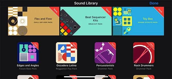 GarageBand لمكتبة صوت iOS