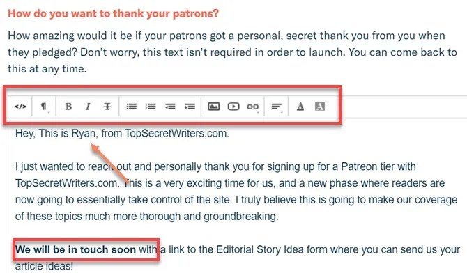 thank you email - How to Launch a Successful Patreon Page