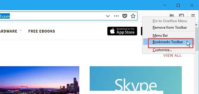 Mostra la barra dei segnalibri in Firefox