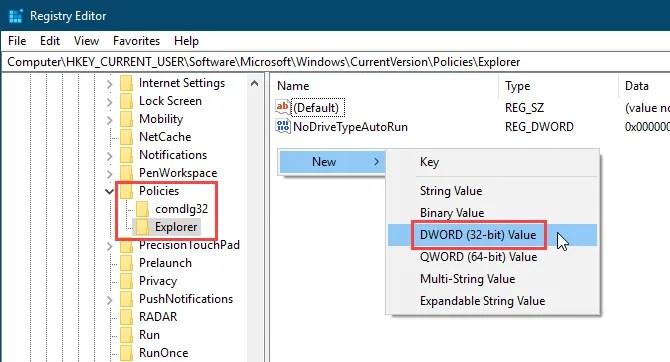 Добавить новое значение DWORD в редакторе реестра Windows 10
