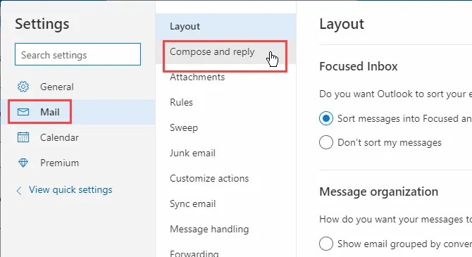 Fai clic su Posta elettronica Componi e rispondi in Outlook in Office 365
