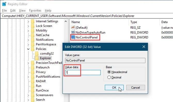 Imposta il valore NoControlPanel su 1 nell'editor del Registro di sistema di Windows 10