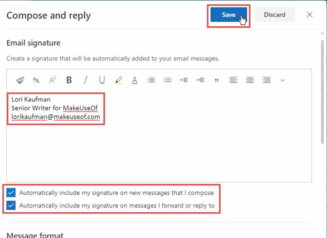 Creare una firma e fare clic su Salva in Outlook in Office 365