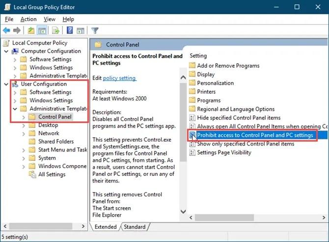 Дважды щелкните значок Запретить доступ к панели управления и настройкам ПК в редакторе локальной групповой политики в Windows 10