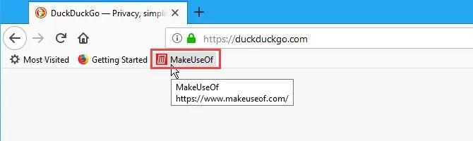 Un segnalibro sulla barra dei segnalibri in Firefox