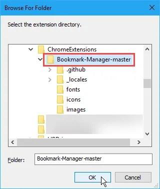 La finestra di dialogo Sfoglia per cartelle per selezionare la cartella di un'estensione per installarla in Chrome