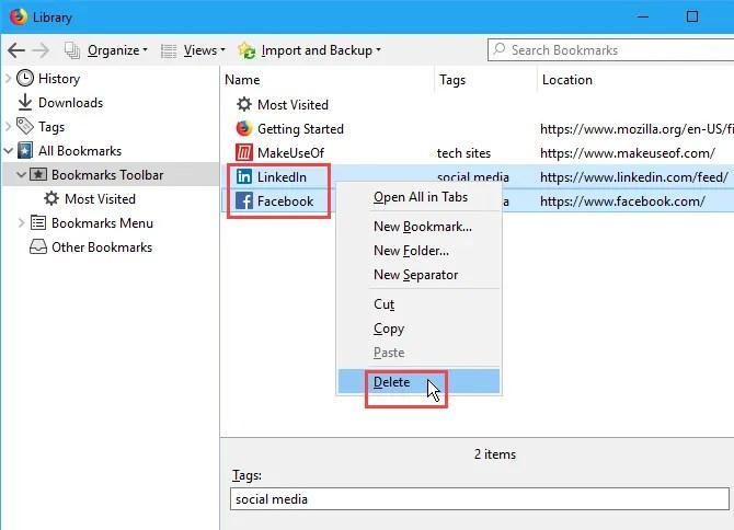 Elimina più segnalibri in Firefox