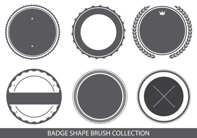Pennello logo a forma di badge per Adobe Photoshop