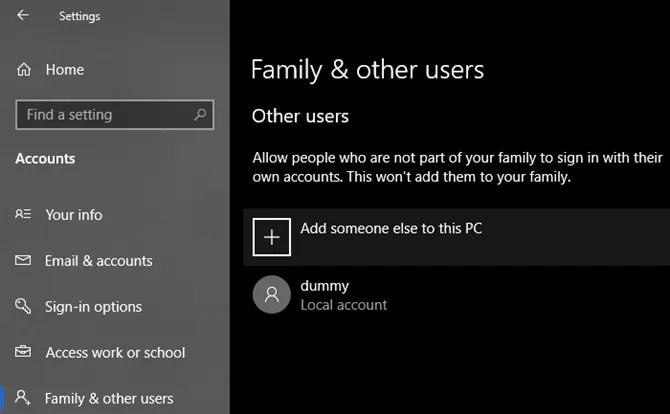 Windows 10 Aggiungi nuovo utente