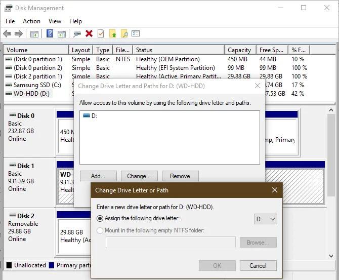 Управление дисками Windows Назначить букву диска