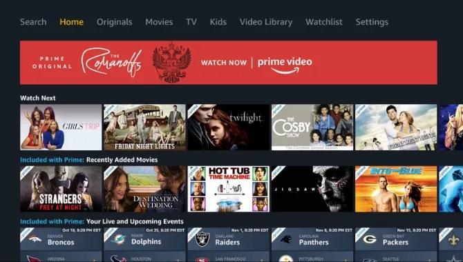 Principale di Amazon Prime Video App