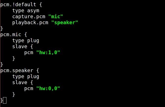 file di configurazione asoundrec per microfono e altoparlante