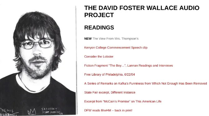 david foster wallace view from mrs. audiolibro in streaming gratuito di Thompson