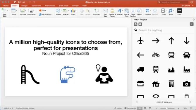 Il componente aggiuntivo del progetto Noun per Powerpoint fornisce icone ed emoji gratuiti
