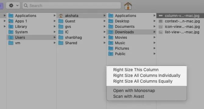 contesto-menu-opzioni-a-colonna-view-in-finder-on-mac