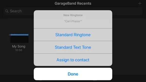 GarageBand App Assegna suoneria