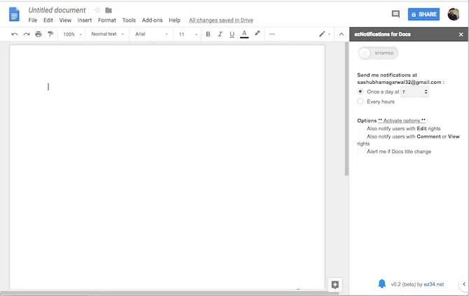 Componente aggiuntivo ezNotifications di Google Documenti