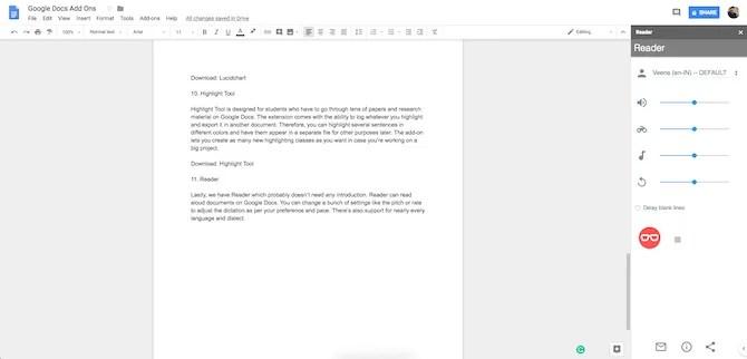 Componente aggiuntivo di Google Docs Reader
