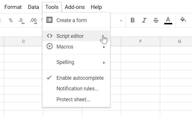 editor di script google sheets