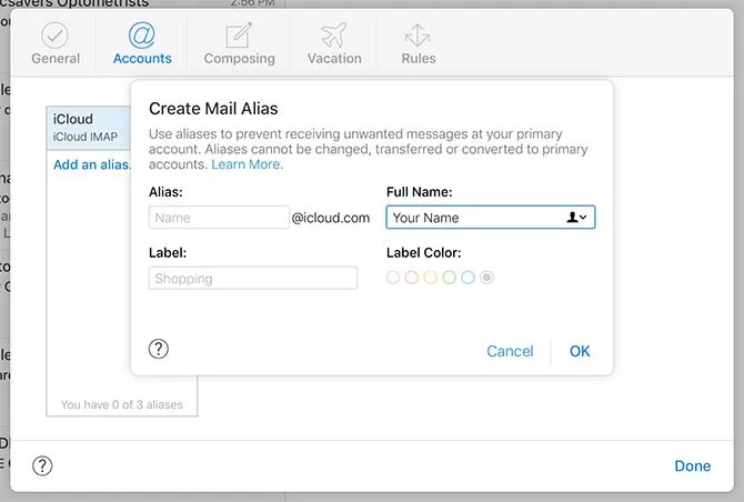 iCloud Mail Alias