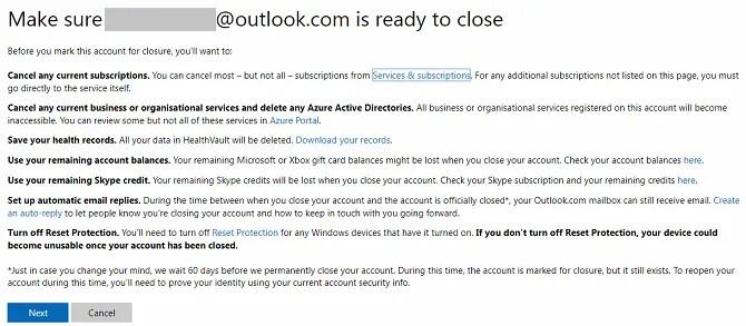 chiudere lo schermo dell'account Microsoft