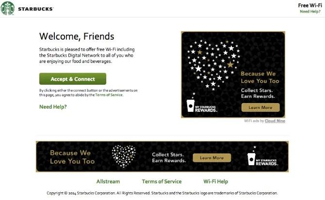 Pagina di accesso Wi-Fi Starbucks