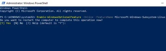 Abilita sottosistema Windows per Linux